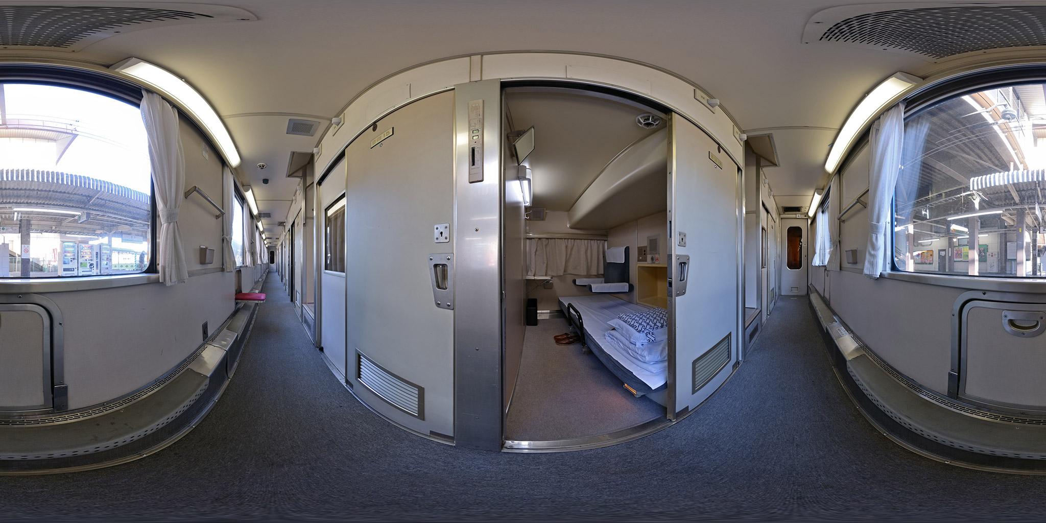 寝台特急北陸ソロ(スハネ14-752)車内のパノラマ