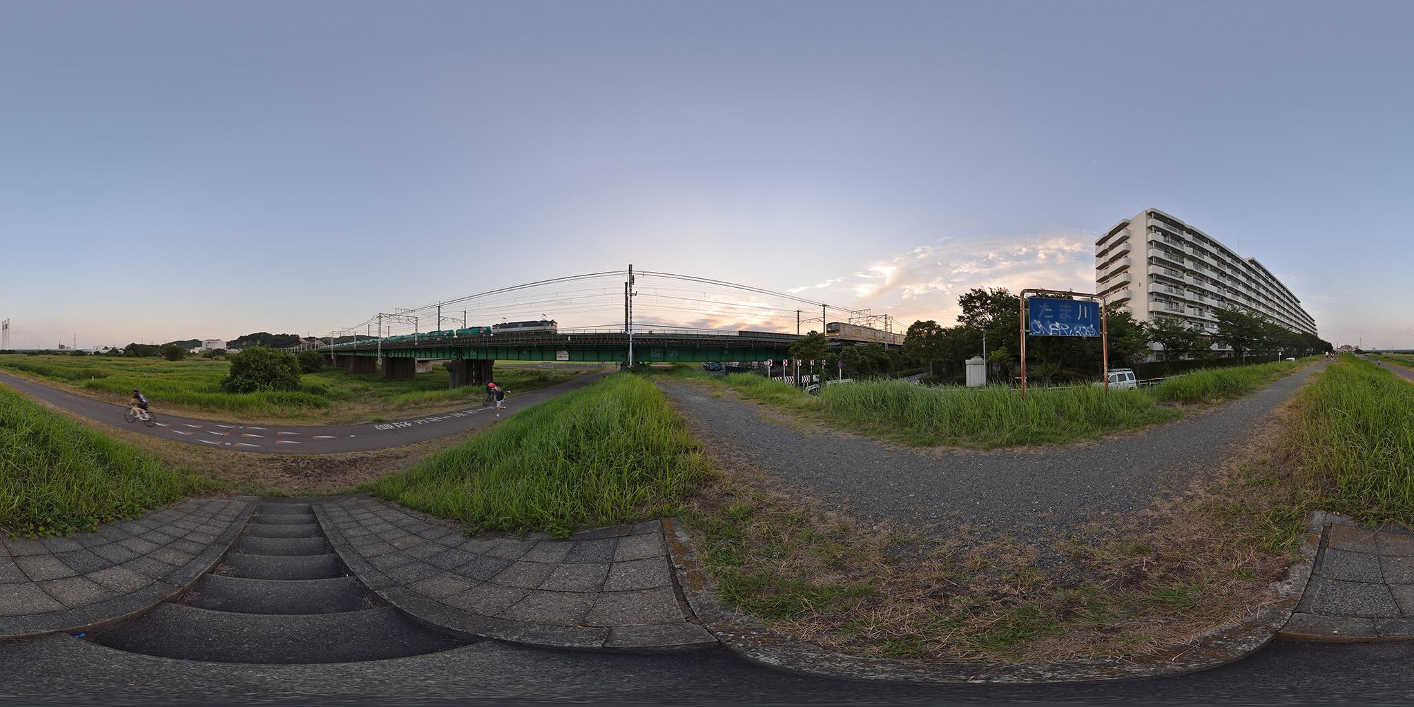 多摩川橋梁を渡る南武線と武蔵野貨物線