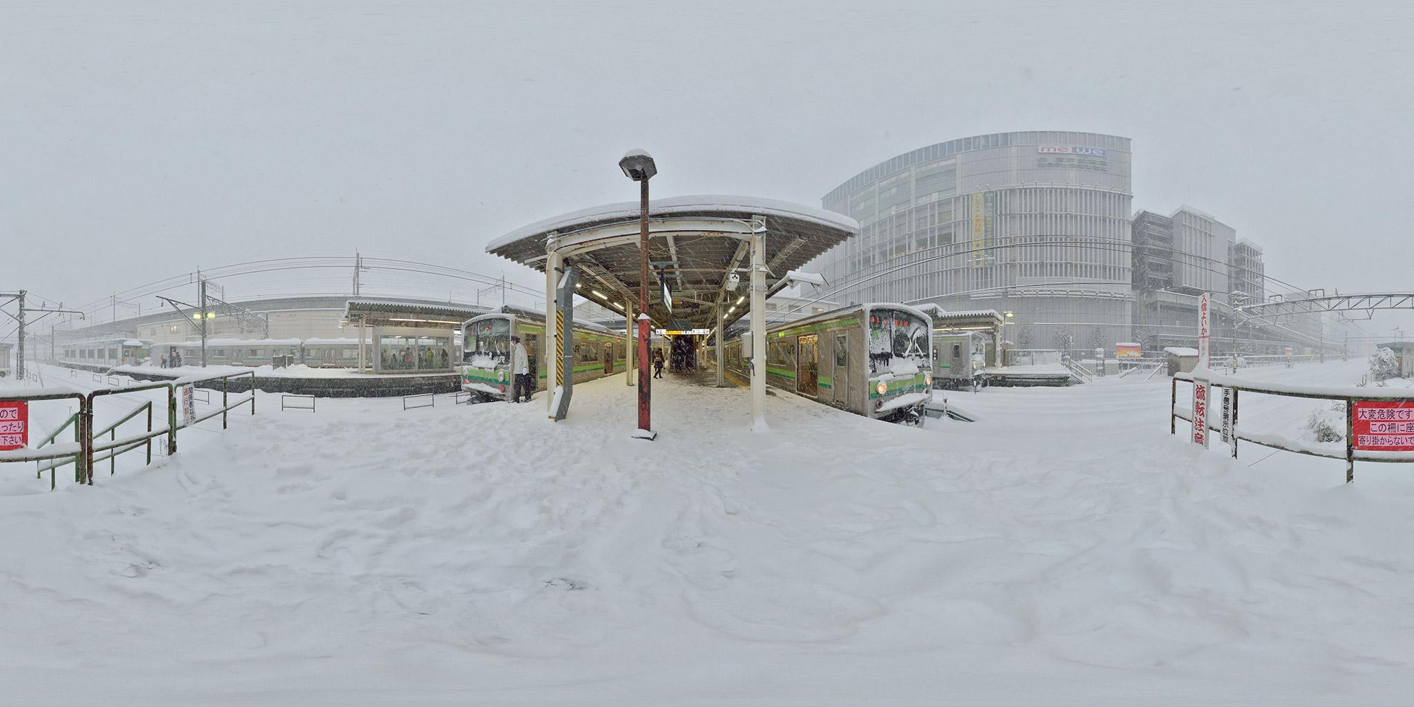 大雪の日の横浜線橋本駅にて