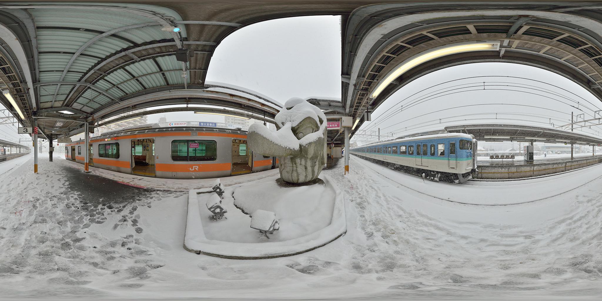 高尾駅の天狗像と115系・E233系