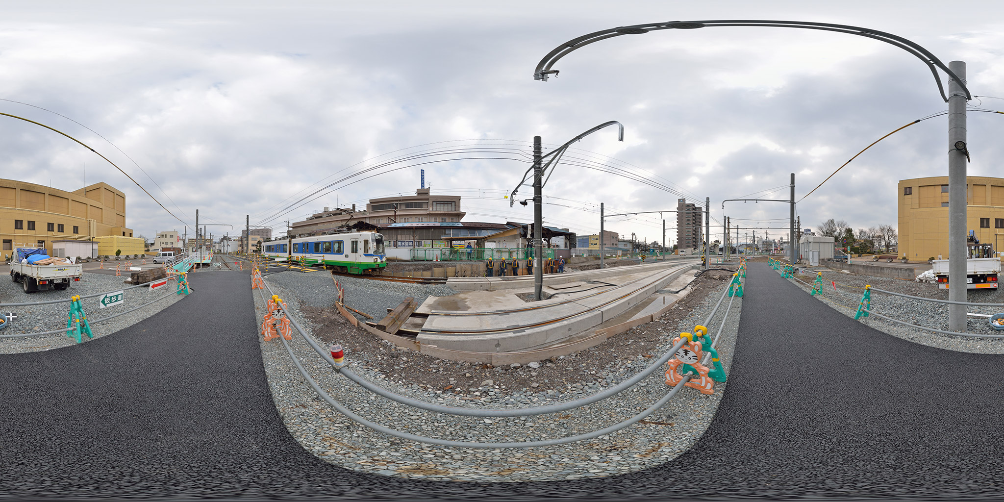 2014年4月、改修工事中の福井鉄道田原町駅