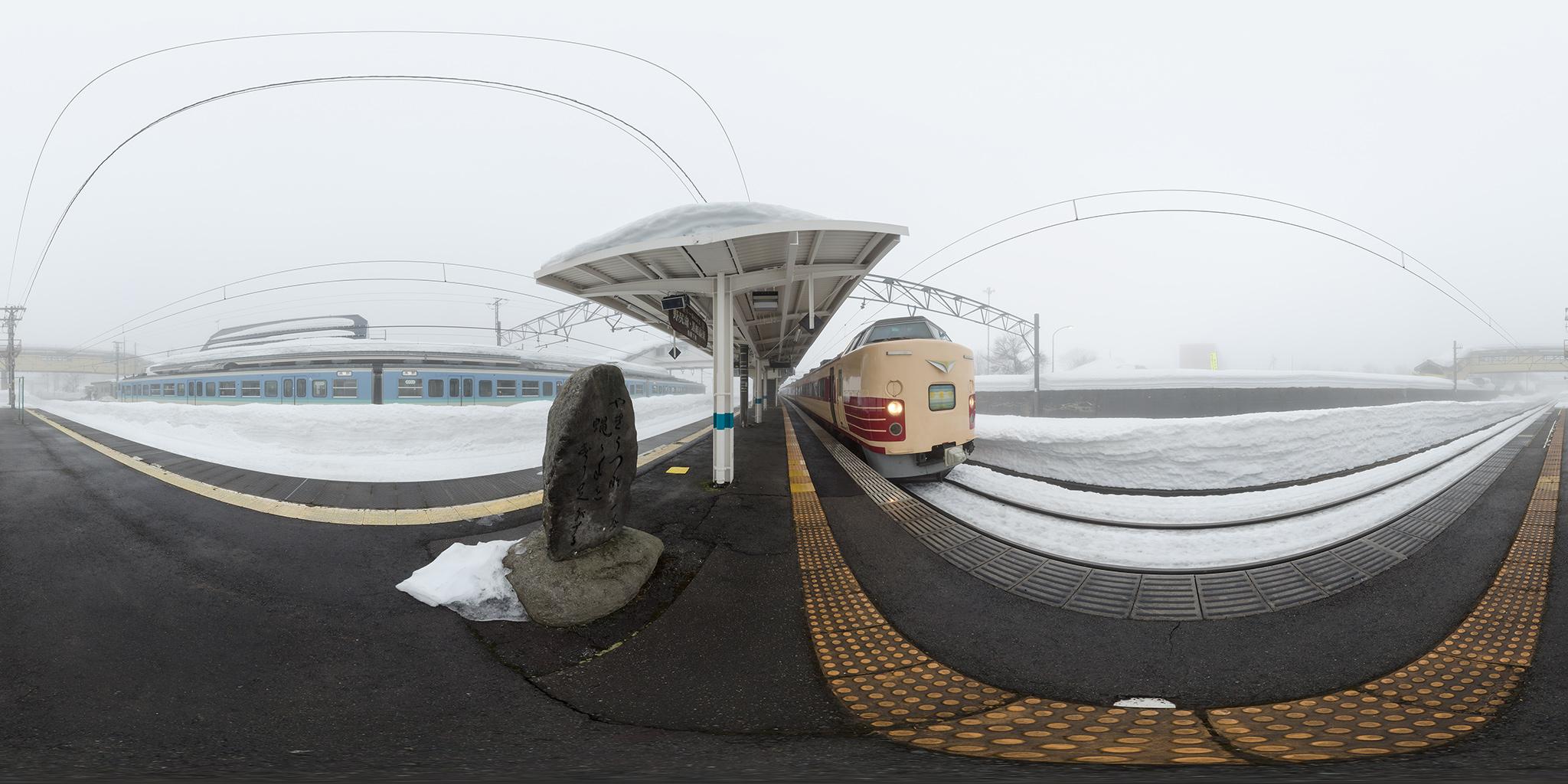 黒姫駅で交換する妙高1号(183/189系N101編成)