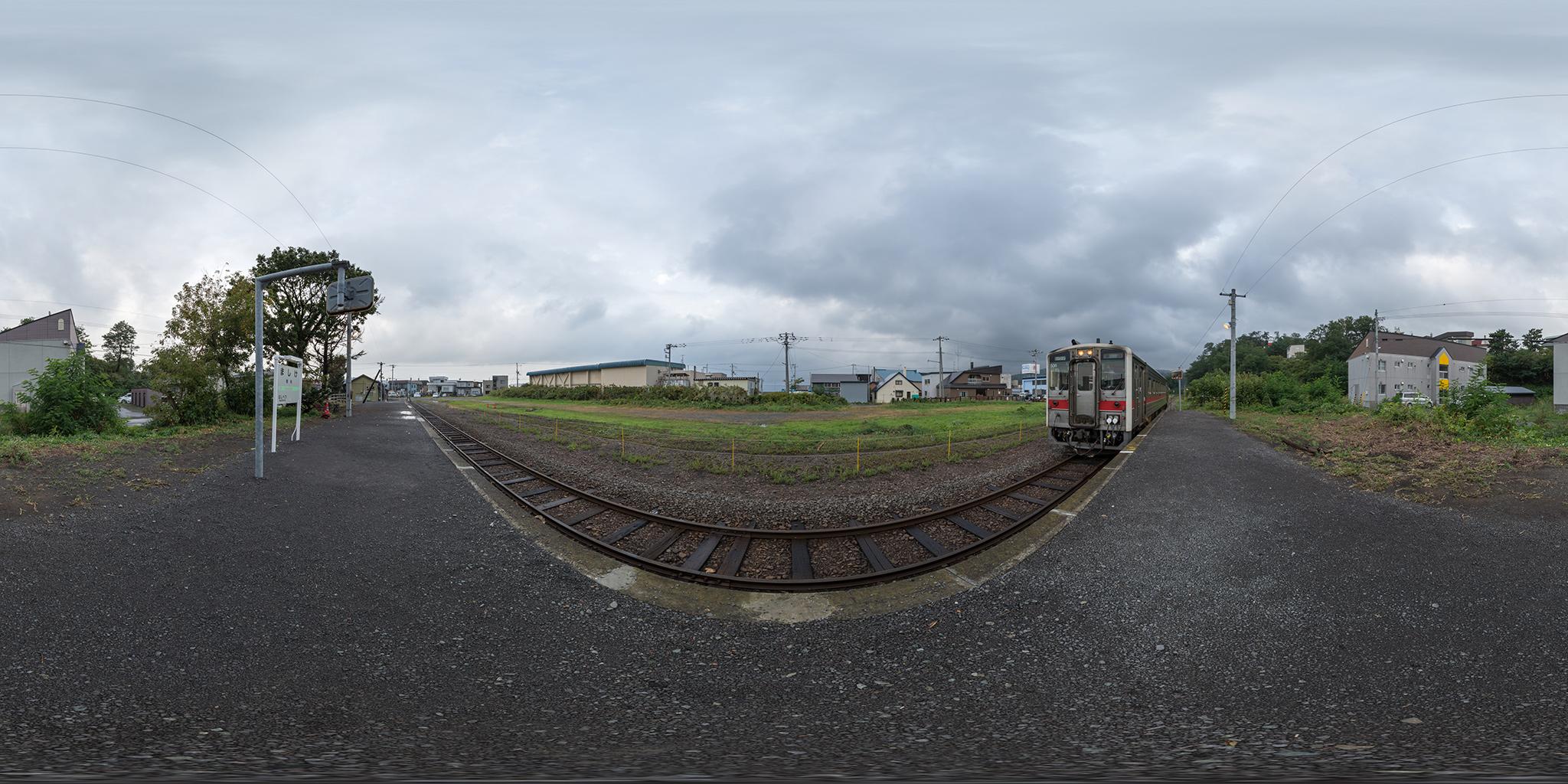 増毛駅に到着するキハ54-506(4921D)