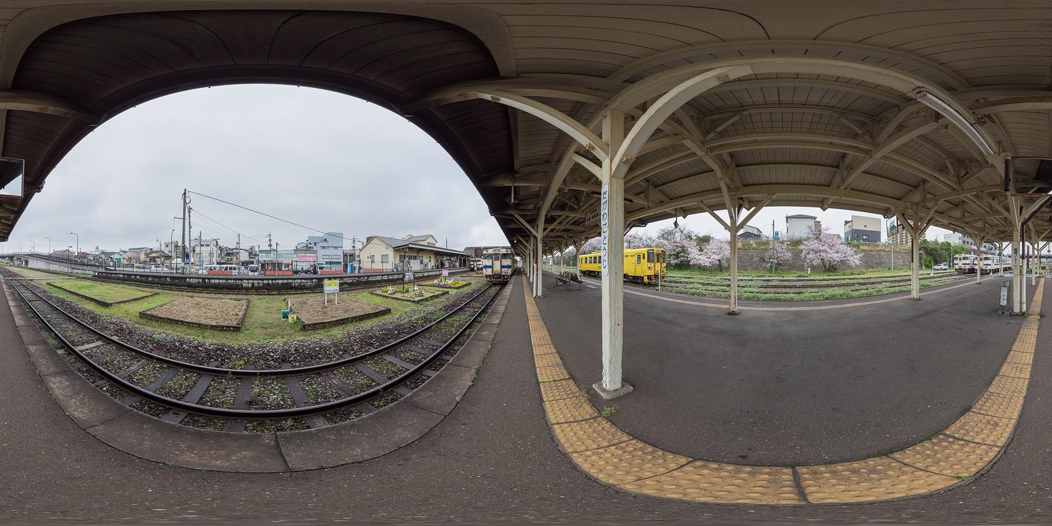 日田彦山線田川後藤寺駅、構内の360度パノラマ