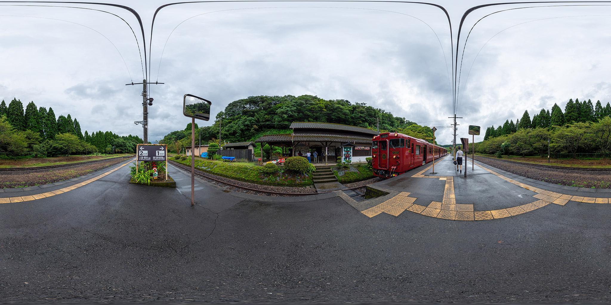 大畑駅に停車中の「いさぶろう・しんぺい」